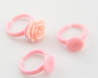 96 pcs of plastic ring base with 10mm glue pad 4057-pink-for children