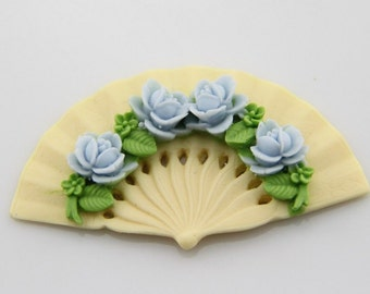 6 pcs ofof resin bouquest fan cabochon 40mm-0490-blue on cream
