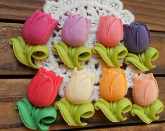 16 pcs of 8 colors of resin tulip cabochon-RC0035-mixture colors