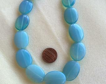Blue opalite oval beads 12 inch strand
