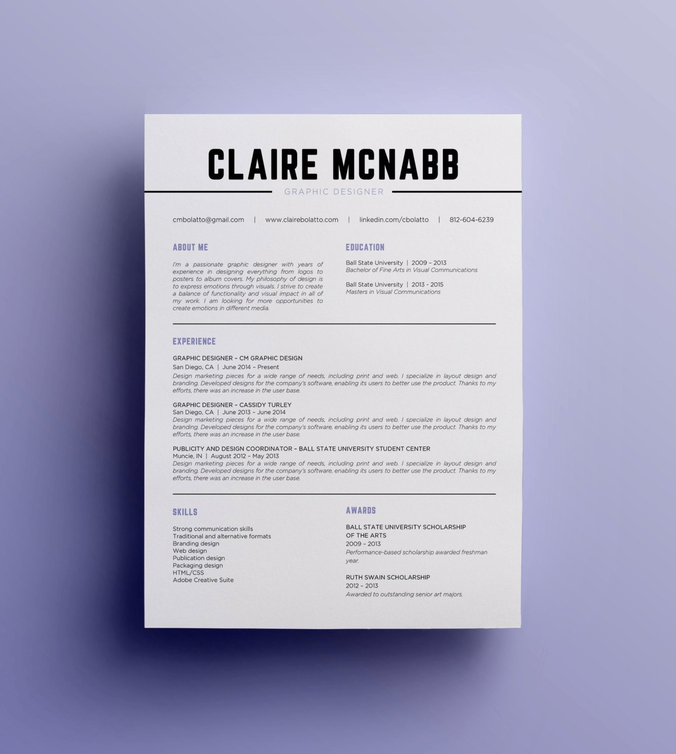 resume template      cv template      instant by clairemcnabbgraphics