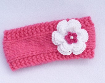 HALF PRICE SALE Baby girl hand knitted coral pink 6-12 months ear warmers / headband /photo prop