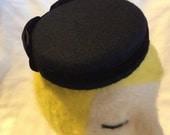 Black Wool Felt Pillbox Fascinator with Velvet Bow and Ribbon