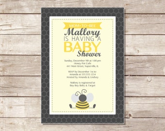 Bumble Bee Baby Shower Invitation - Printable
