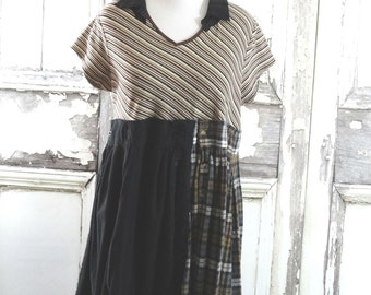 Winter Clearance  -Black Brown and Gray Upcycled Clothing Eco Fashion Boho Chic Plus Size Flannel Dress