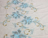 Chocolate and Sky Blue Floral Embroidered Tulle Fabric (by the yard)