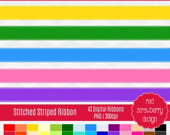 75% OFF Sale - Striped Ribbon Clip Art - 42 Digital Clip Art - Instant Download - PNG (CA116)