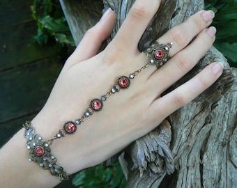pink Swarovski hand chain pink prom hand flower slave ring bohemian Mothers day victorian moon goddess pagan boho gypsy style