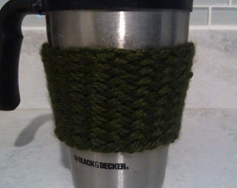 Hand Knit Dark Green Basket Weave Cabled Coffee Sleeve