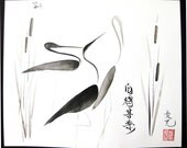 Chinese painting - Sumi-e Cranes  - Original Ink Painting