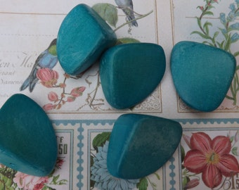 Vintage wooden pebble beads