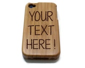 Iphone 4 case / iphone 4S case wood - wood Iphone 4 case bamboo, cherry and walnut wood - Custom text / personalized design