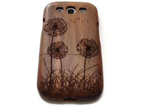 wooden Samsung Galaxy S3  case - wooden S3 case walnut / cherry or bamboo -  Dandelion