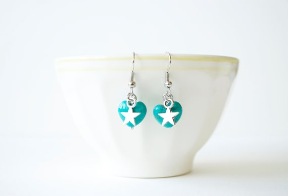 Turquoise heart and star