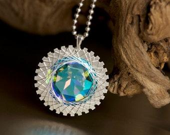 Sterling Silver Notched Disc Necklace With Swarovski Blue Zephyr 27mm Rivoli Crystal