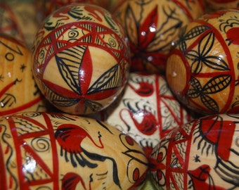 Wooden Painted Russian Easter Eggs