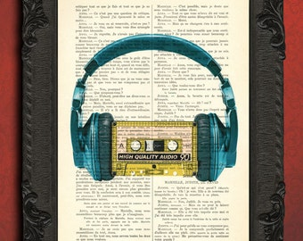 cassette tape and headphones print music gift cassette headphone art print