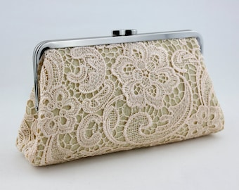 Blushed Pink Lace Bridal Clutch / Wedding Clutch Purse / Bridesmaid Gift for Wedding Party / Wedding Gift