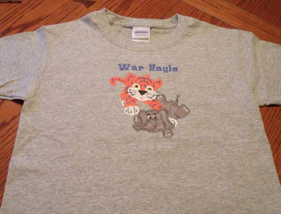Auburn war eagle appliqued t shirt in youth small cotton for Auburn war eagle shirt