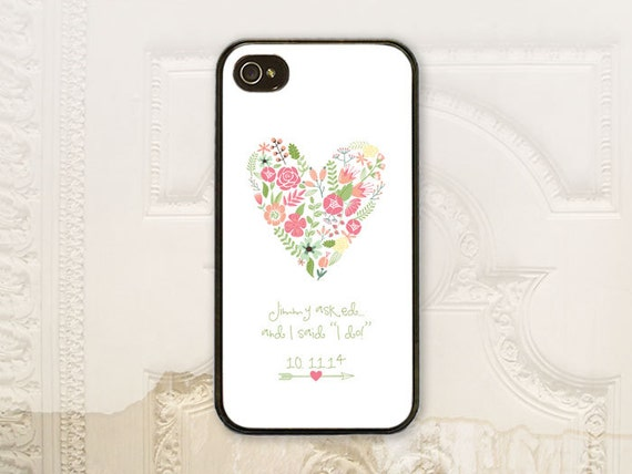 Personalized Bride phone case iPhone 4 4s 5 5s Galaxy S3 S4 case Floral heart, Personalize names & date, I do B4360