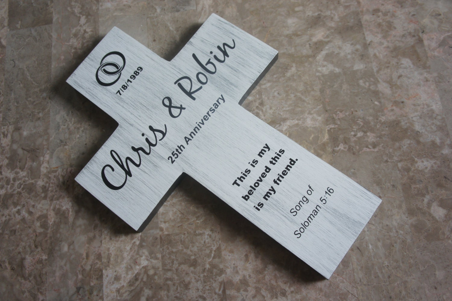 Silver 25th Wedding Anniversary: Silver 25th Anniversary Wedding Wall Cross By Frameyourstory