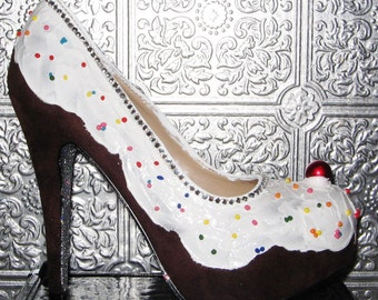 ice cream cupcake high heel shoes with frosting, sprinkles and glittered soles