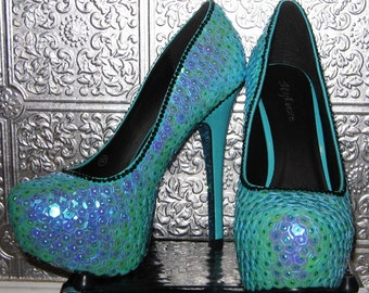 fish scale mermaid high heel shoes with glittered soles