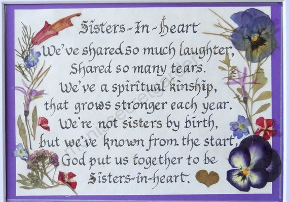 Sisters In Heart Quotehand Calligraphypressed Flowers