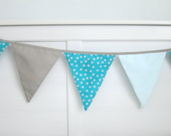 Turquoise Flag Bunting (8), Turquoise Nursery Bunting, Flag Garland - Polka dots turquoise, aqua mint and beige