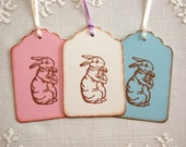 Easter Tags, Victorian Style Bunny -Set of 6 Vintage Style Gift Tags/ Easter Bunny Tags (gift wrap, favor tags)