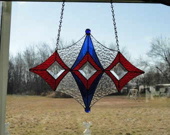 Red White & Blue stain glass