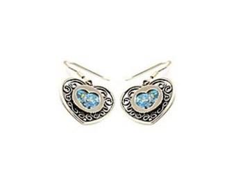 Dangle Earrings, 925 Sterling Silver Earrings, Roman Glass Earrings, Dangle Earrings, Heart, Love, Valentine Gift
