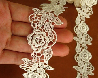 White Venise Lace Trim, bridal lace trim. retro rose flowers trim lace
