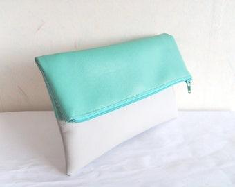 Mint clutch, vegan leather clutch, Foldover clutch purse, colorblock clutch