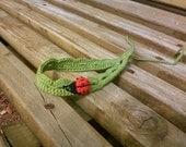 Custom Lady Bug Crocheted Pain Free Green Headband