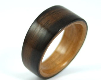 Wooden Ring - Ebony Wood Ring With Cherry Wood Ring Liner