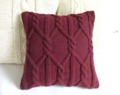 Merlot Chunky Knit Pillow Cover, Throw Pillow, Marsala Cable Knit Pillow Cas, Hand Knit Pillow Cover, 16x16 Decorative Couch Pillow