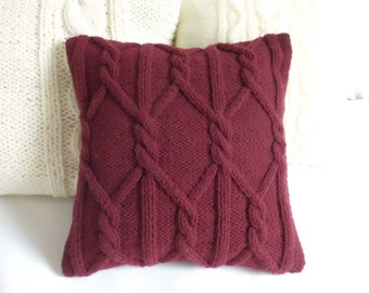 Merlot Chunky Knit Pillow Cover, Throw Pillow, Marsala Cable Knit Pillow Case, Hand Knit Pillow Cover, 16x16 Decorative Couch Pillow