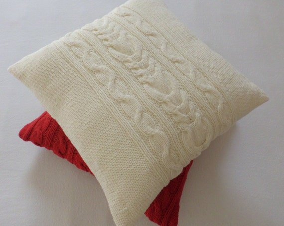 knitted pillow cover off white 16 x 16 cable knit cushion. Black Bedroom Furniture Sets. Home Design Ideas