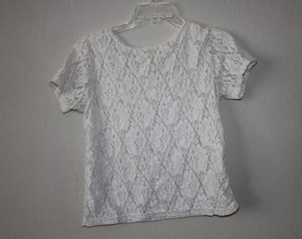 90s white lace sheer top