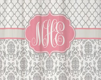 Shower Curtain Fabric Damask Lattice 70, 74, 78, 84, 88, 96 inch long lengths Personalized Monogrammed for you, shown Cool Gray & Soft Pink