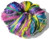 RESERVED for Michelle Burst of Spring Chunky Texture Art Batt  4.8 oz Textured Spinning/Felting