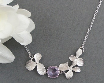 Triple Orchid with Glass Stone Necklace, Personalized Necklace, Wedding Necklace, Bridal Necklace, Bridesmaid Necklace