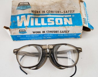 Vintage WILLSON Folding Safety GOGGLES / GLASSES - Industrial Aviator Steampunk Hipster Crafter