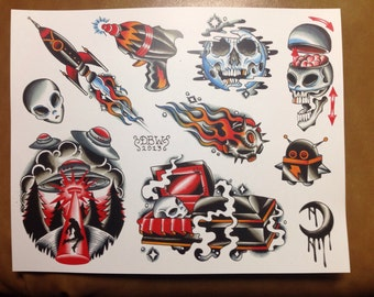 Space Age Tattoo Flash