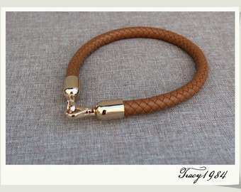 Synthetic Leather Bag Handle with Gold Clasps