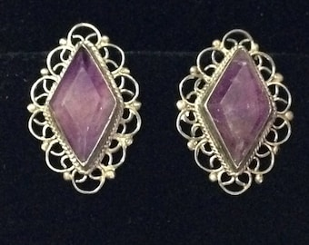 Vintage Silver Amethyst Earrings (LD31)
