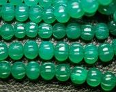 14 Inch Long Strand,Superb-Emerald Green ONYX MELON Shape Rondelles,7-8mm size,