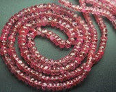 8 Inch Strand, Finest Quality, AAA Genuine Pink Sapphire Micro Faceted Rondelles Beads 4-4.5mm aprx