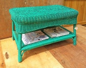 teal green coffee table, great condition! great colour to brighten up your lounge room! upcycled, green wicker table